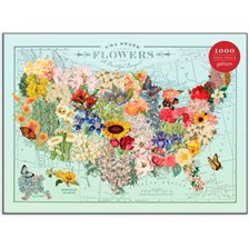 Galison USA states Blomster Puslespil