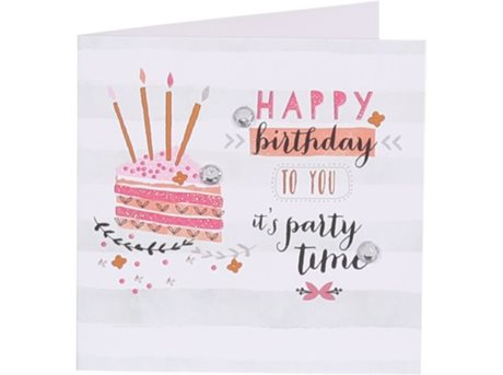 Image of   Kort Happy birthday to you its party time 7,5 x 7,5 c.