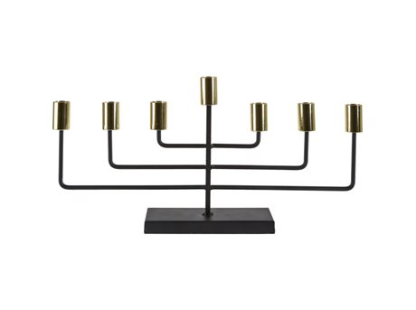 Image of   Villa Collection Lysestage Guld, Sort 22,5 cm